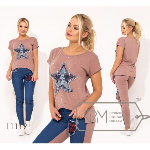 Костюм-двойка из двунитки и джинса с нашивкой-звезда и декорирован жемчужинами на футболке и брюках 11119