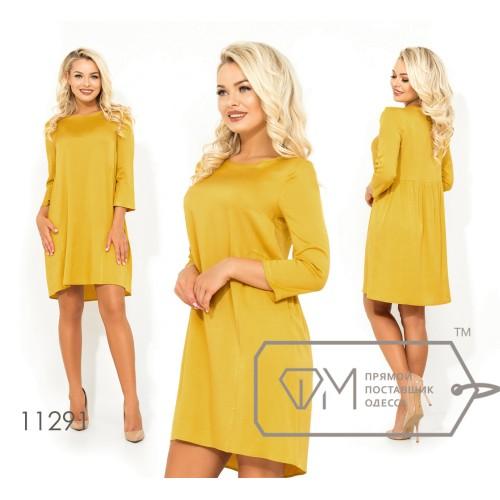 Платье-мини из однотонной вискозы с рукавами 7/8 круглым вырезом и легким шлейфом 11291