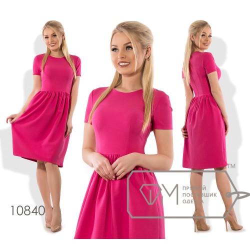 Платье-миди А-покроя из плательного крепа с коротким рукавом резинкой на талии и пышной юбкой 10840