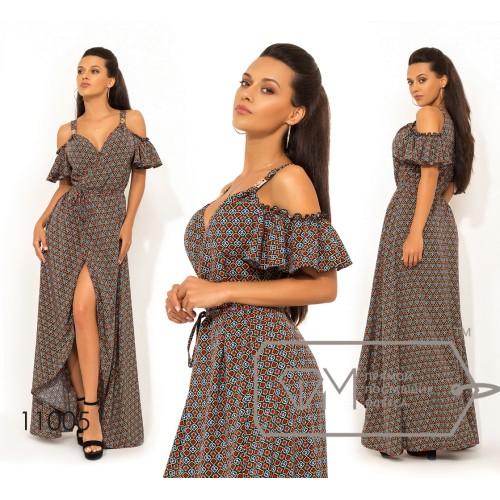 Платье-халат из софта на запах, бретелях с открытыми плечами коротким рукавом-волан и асиметричным подолом 11005