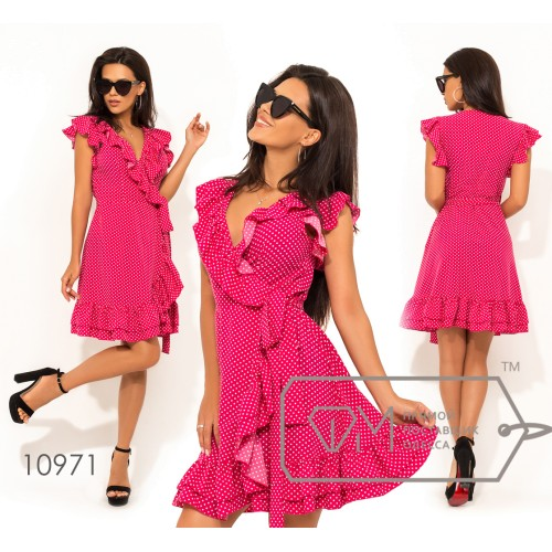 Платье-халат на запах из софта с V-образным вырезом, оборкой по всей длине и короткими рукавами-крылышко 10971