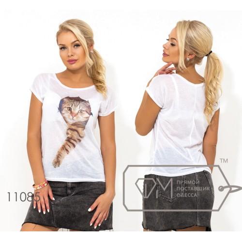"""Белая футболка из ткани """"марлевка"""" с коротким рукавом и накатом на груди ( ткань просвечивается, возможен шов по спинке) 11085"""