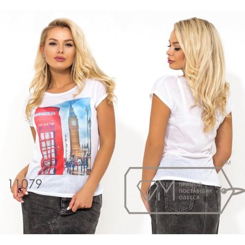 """Белая футболка из ткани """"марлевка"""" с коротким рукавом и накатом на груди ( ткань просвечивается, возможен шов по спинке) 11079"""