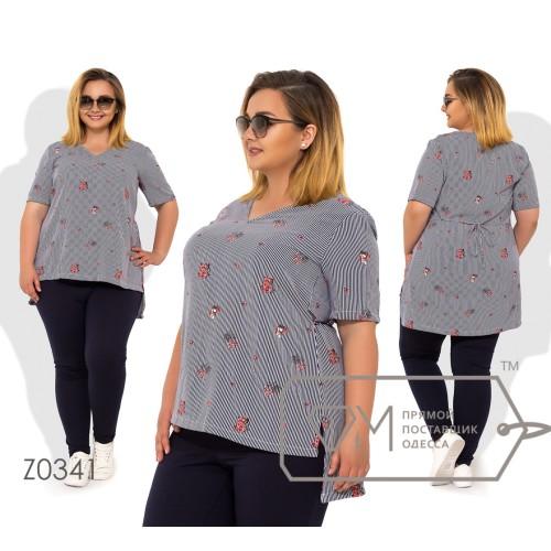 Костюм-двойка блуза из софта с коротким рукавом асимметричным низом и декоративной завязкой сзади, брюки из двунинитки ( на резинке) Z0341